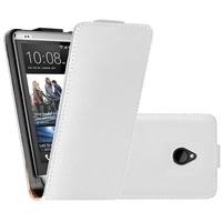 HTC One Mini M4/ 601/ 601e/ 601n/ 601s: Accessoire Housse coque etui cuir fine slim - BLANC