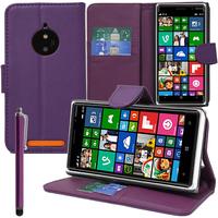 Nokia Lumia 830 RM-984: Accessoire Etui portefeuille Livre Housse Coque Pochette support vidéo cuir PU + Stylet - VIOLET