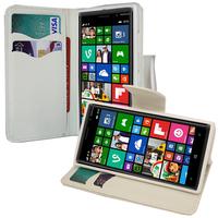 Nokia Lumia 830 RM-984: Accessoire Etui portefeuille Livre Housse Coque Pochette support vidéo cuir PU effet tissu - BLANC