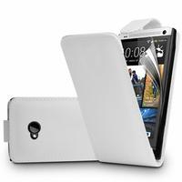 HTC One M7: Accessoire Etui Housse Coque Pochette simili cuir - BLANC