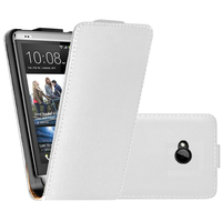 HTC One M7: Accessoire Housse coque etui cuir fine slim - BLANC