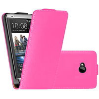 HTC One M7: Accessoire Housse coque etui cuir fine slim - ROSE
