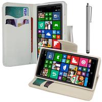 Nokia Lumia 830 RM-984: Accessoire Etui portefeuille Livre Housse Coque Pochette support vidéo cuir PU effet tissu + Stylet - BLANC