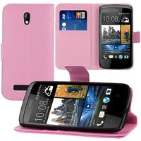HTC Desire 500/ Dual Sim: Accessoire Etui portefeuille Livre Housse Coque Pochette support vidéo cuir PU - ROSE-PALE