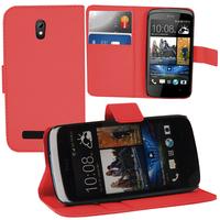 HTC Desire 500/ Dual Sim: Accessoire Etui portefeuille Livre Housse Coque Pochette support vidéo cuir PU - ROUGE