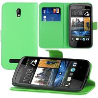 HTC Desire 500/ Dual Sim: Accessoire Etui portefeuille Livre Housse Coque Pochette support vidéo cuir PU - VERT