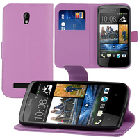 HTC Desire 500/ Dual Sim: Accessoire Etui portefeuille Livre Housse Coque Pochette support vidéo cuir PU - VIOLET