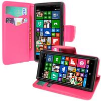 Nokia Lumia 830 RM-984: Accessoire Etui portefeuille Livre Housse Coque Pochette support vidéo cuir PU effet tissu - ROSE