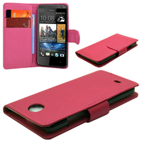 HTC Desire 601 Zara/ Dual Sim: Accessoire Etui portefeuille Livre Housse Coque Pochette cuir PU - ROSE