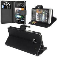 HTC Desire 601 Zara/ Dual Sim: Accessoire Etui portefeuille Livre Housse Coque Pochette support vidéo cuir PU - NOIR