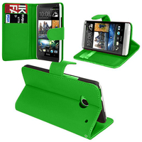 HTC Desire 601 Zara/ Dual Sim: Accessoire Etui portefeuille Livre Housse Coque Pochette support vidéo cuir PU - VERT