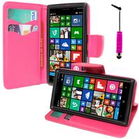 Nokia Lumia 830 RM-984: Accessoire Etui portefeuille Livre Housse Coque Pochette support vidéo cuir PU effet tissu + mini Stylet - ROSE