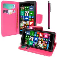 Nokia Lumia 830 RM-984: Accessoire Etui portefeuille Livre Housse Coque Pochette support vidéo cuir PU effet tissu + Stylet - ROSE