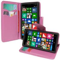Nokia Lumia 830 RM-984: Accessoire Etui portefeuille Livre Housse Coque Pochette support vidéo cuir PU effet tissu - VIOLET