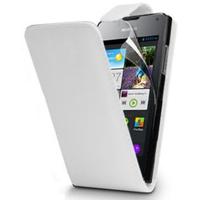 Huawei Ascend Y300: Accessoire Etui Housse Coque Pochette simili cuir - BLANC