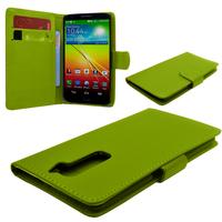 LG G2 D802/ D803/ VS980: Accessoire Etui portefeuille Livre Housse Coque Pochette cuir PU - VERT