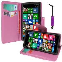 Nokia Lumia 830 RM-984: Accessoire Etui portefeuille Livre Housse Coque Pochette support vidéo cuir PU effet tissu + mini Stylet - VIOLET
