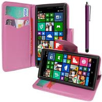Nokia Lumia 830 RM-984: Accessoire Etui portefeuille Livre Housse Coque Pochette support vidéo cuir PU effet tissu + Stylet - VIOLET