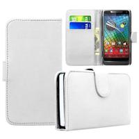 Motorola Razr i XT890: Accessoire Etui portefeuille Livre Housse Coque Pochette cuir PU - BLANC