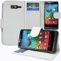 Motorola Razr i XT890: Accessoire Etui portefeuille Livre Housse Coque Pochette support vidéo cuir PU - BLANC