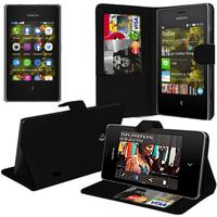 Nokia Asha 503: Accessoire Etui portefeuille Livre Housse Coque Pochette support vidéo cuir PU - NOIR
