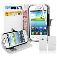 Samsung Galaxy Young S6310 Duos S6312 GT-S6310L: Accessoire Etui portefeuille Livre Housse Coque Pochette support vidéo cuir PU - BLANC