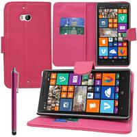 Nokia Lumia 930: Accessoire Etui portefeuille Livre Housse Coque Pochette support vidéo cuir PU + Stylet - ROSE