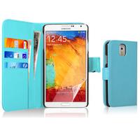 Samsung Galaxy Note 3 N9000/ N9002/ N9005/ N9006: Accessoire Etui portefeuille Livre Housse Coque Pochette cuir PU - BLEU