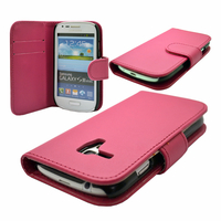 Samsung Galaxy S3 mini i8190/ i8200 VE: Accessoire Etui portefeuille Livre Housse Coque Pochette cuir PU - ROSE