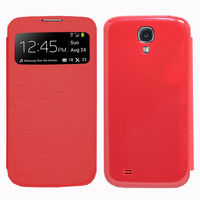 Samsung Galaxy S4 i9500/ i9505/ Value Edition I9515: Accessoire Coque Etui Housse Pochette Plastique View Case - ROUGE