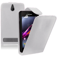 Sony Xperia E/ E Dual C1605 C1505 C1604: Accessoire Etui Housse Coque Pochette simili cuir - BLANC