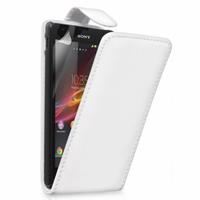 Sony Xperia L S36h/C2105/C2104: Accessoire Etui Housse Coque Pochette simili cuir - BLANC