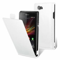 Sony Xperia L S36h/C2105/C2104: Accessoire Housse coque etui cuir fine slim - BLANC