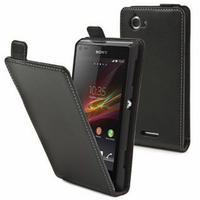 Sony Xperia L S36h/C2105/C2104: Accessoire Housse coque etui cuir fine slim - NOIR