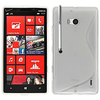 Nokia Lumia 930: Accessoire Housse Etui Pochette Coque S silicone gel + Stylet - TRANSPARENT