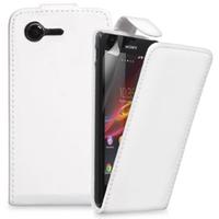 Sony Xperia M C1904/ C1905: Accessoire Etui Housse Coque Pochette simili cuir - BLANC