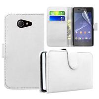 Sony Xperia M2/ M2 Dual D2303 D2305 D2306: Accessoire Etui portefeuille Livre Housse Coque Pochette cuir PU - BLANC