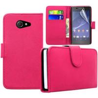 Sony Xperia M2/ M2 Dual D2303 D2305 D2306: Accessoire Etui portefeuille Livre Housse Coque Pochette cuir PU - ROSE