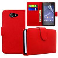 Sony Xperia M2/ M2 Dual D2303 D2305 D2306: Accessoire Etui portefeuille Livre Housse Coque Pochette cuir PU - ROUGE