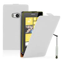 Nokia Lumia 930: Accessoire Housse coque etui cuir fine slim + mini Stylet - BLANC