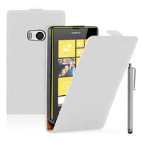 Nokia Lumia 930: Accessoire Housse coque etui cuir fine slim + Stylet - BLANC