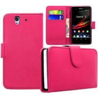 Sony Xperia Z L36h C6602 C6603: Accessoire Etui portefeuille Livre Housse Coque Pochette cuir PU - ROSE