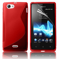 Sony Xperia J St26i: Accessoire Housse Etui Pochette Coque S silicone gel - ROUGE