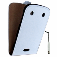BlackBerry Bold Touch 9900/ Dakota/ Magnum/ Bold Touch 9930/ Montana: Accessoire Housse coque etui cuir fine slim + mini Stylet - BLANC