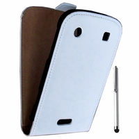 BlackBerry Bold Touch 9900/ Dakota/ Magnum/ Bold Touch 9930/ Montana: Accessoire Housse coque etui cuir fine slim + Stylet - BLANC