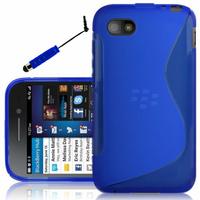 Blackberry Q5: Accessoire Housse Etui Pochette Coque S silicone gel + mini Stylet - BLEU