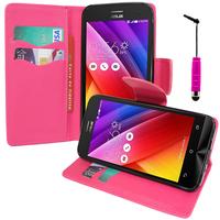 Asus Zenfone 2 ZE500CL/ Zenfone 2E: Accessoire Etui portefeuille Livre Housse Coque Pochette support vidéo cuir PU effet tissu + mini Stylet - ROSE
