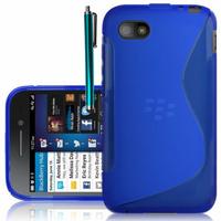 Blackberry Q5: Accessoire Housse Etui Pochette Coque S silicone gel + Stylet - BLEU