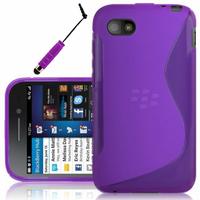 Blackberry Q5: Accessoire Housse Etui Pochette Coque S silicone gel + mini Stylet - VIOLET