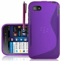 Blackberry Q5: Accessoire Housse Etui Pochette Coque S silicone gel + Stylet - VIOLET